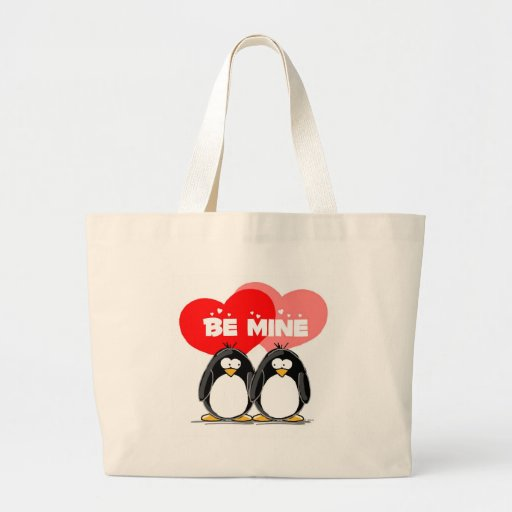 Be Mine Penguins Tote Bags