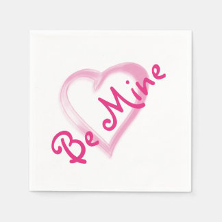 Be Mine Pink Heart Paper Napkins