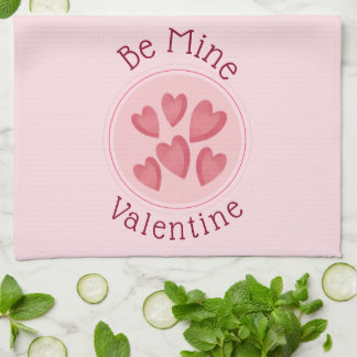 Be Mine Pink Hearts Kitchen Towel