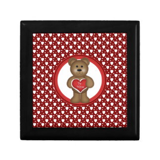 Be Mine, Standing Valentine Bear, Hearts, Red Gift Box