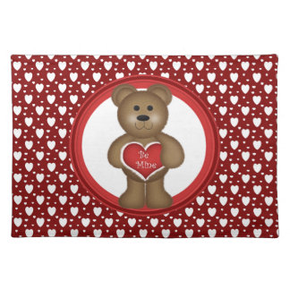 Be Mine, Standing Valentine Bear, Hearts, Red Placemat