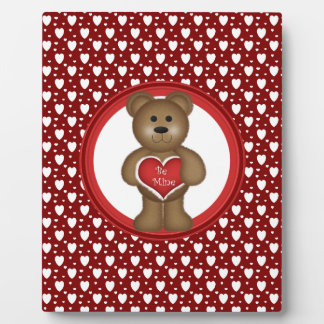 Be Mine, Standing Valentine Bear, Hearts, Red Plaque