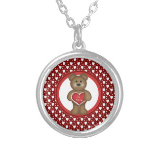 Be Mine, Standing Valentine Bear, Hearts, Red Silver Plated Necklace
