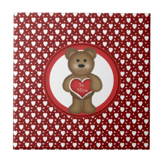 Be Mine, Standing Valentine Bear, Hearts, Red Tile