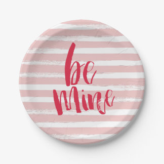 Be mine stripe | Valentines day paper plates 7 Inch Paper Plate
