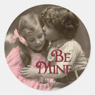 Be Mine Sweet Vintage Valentine Classic Round Sticker