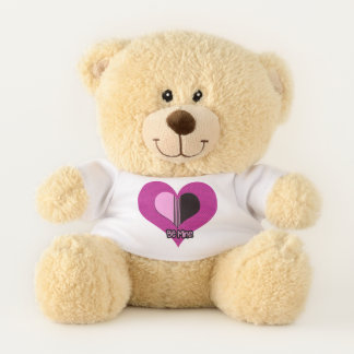 Be Mine Valentine Pink Striped Heart Teddy Bear