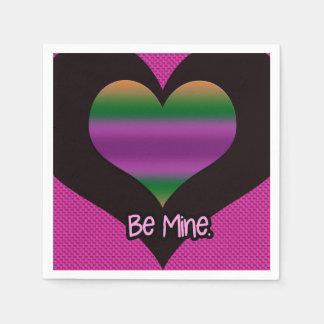 Be Mine Valentine Purple Heart Disposable Napkins