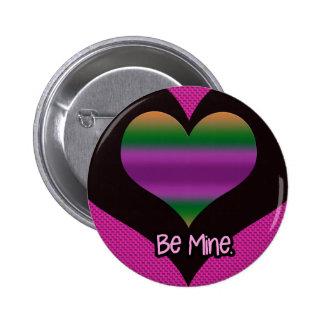 Be Mine Valentine Purple Stripe Heart 2 Inch Round Button