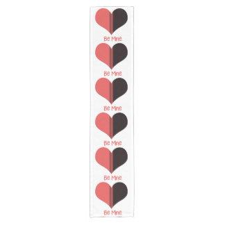 Be Mine Valentine Red Stripe Heart Short Table Runner