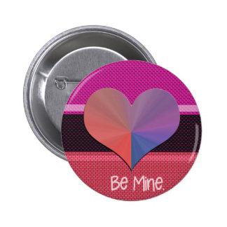 Be Mine Valentine Reflective Heart 2 Inch Round Button