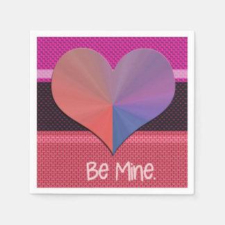 Be Mine Valentine Reflective Heart Paper Napkins