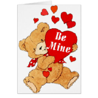 Be Mine Valentine Teddy Greeting Card