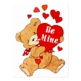Be Mine Valentine Teddy Postcard