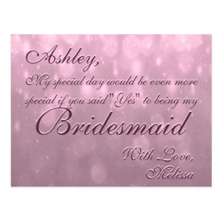 Be My Bridesmaid | Blush Bokeh Postcard