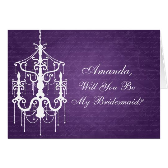 Be My Bridesmaid Chandelier Purple Card