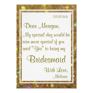 Be My Bridesmaid | Gold Glitter Glam 5x7 Paper Invitation Card