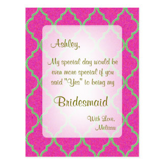 Be My Bridesmaid | Hot Pink Quatrefoil Postcard