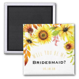 Be My Bridesmaid Rustic Sunflowers Wedding Magnet
