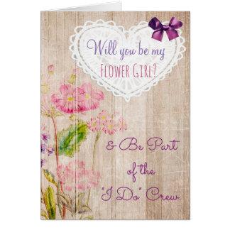 Be My Flower Girl Rustic Wedding Crew Card