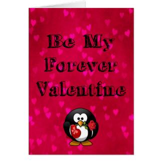 Be My Forever Valentine Penguin Card