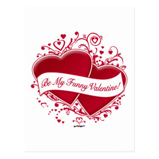 Be My Funny Valentine! Red Hearts Post Cards