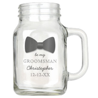 Be My Groomsman Request Name Wedding Mason Jar