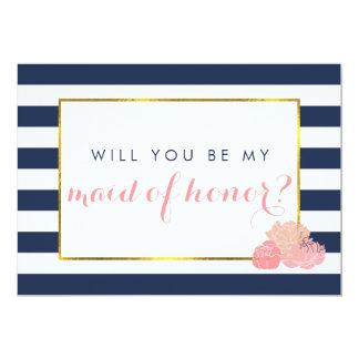 "Be My Maid of Honor Card | Navy Stripe Blush Peony 5"" X 7"" Invitation Card"