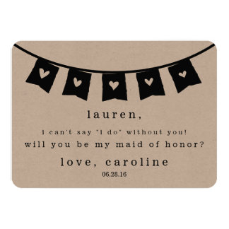 Be My Maid of Honor Card | Rustic Kraft Hearts
