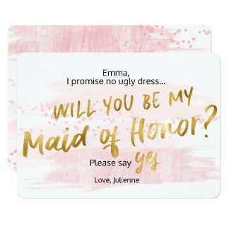 Be my Maid of Honor Pink Blush Gold Watercolor Card