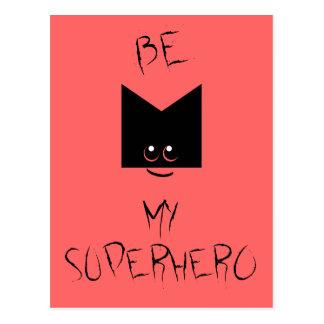 Be My Superhero Pop Art Postcard Pink