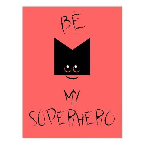 Be My Superhero Pop Art Postcard (Pink)
