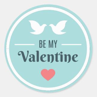 Be My Valentine Doves Classic Round Sticker