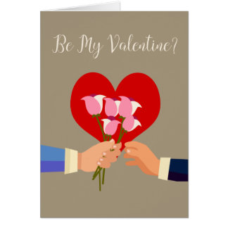 Be My Valentine Gay Themed Roses And Heart Card