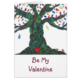 Be My Valentine - heart tree Card