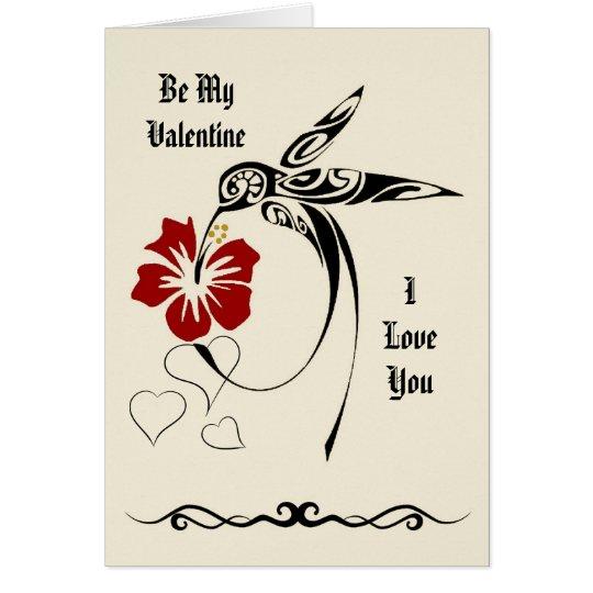 Be My Valentine - I Love You - Hummingbird Card