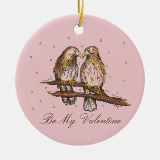 Be My Valentine Lovebird Bird Valentine's Ornament