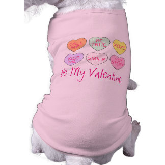 Be My Valentine Pink Candy Heart Love Dog Tee