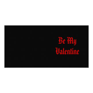 Be My Valentine. Valentines Day. Red Black. Custom Personalized Photo Card