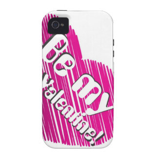 Be my valentine with pink heart iPhone 4 case