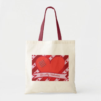 Be my valentine with red heart and stripes budget tote bag