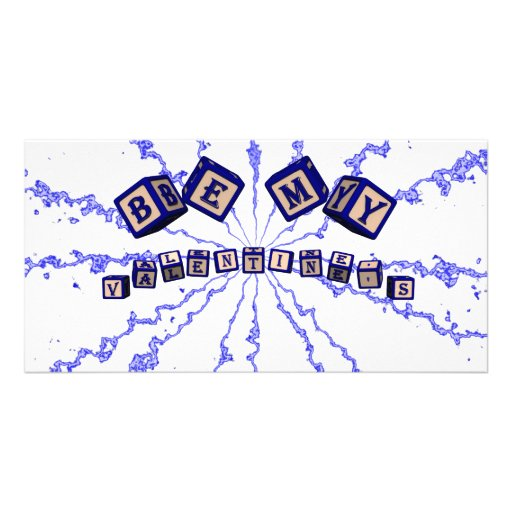 Be my valentine's toy blocks in blue picture card