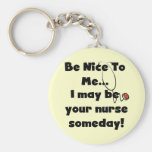 Be Nice Nurse Tshirts and Gifts Basic Round Button Keychain