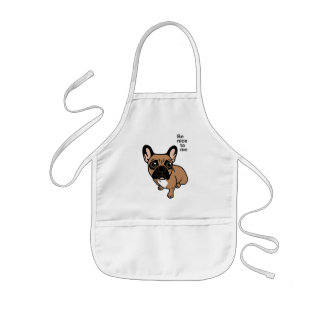 Be nice to the cute black mask fawn Frenchie Kids Apron