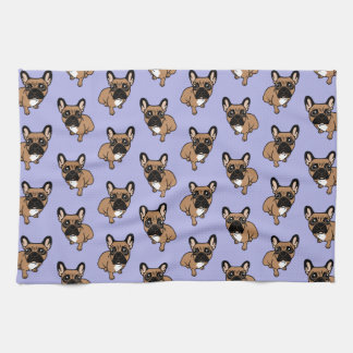 Be nice to the cute black mask fawn Frenchie Kitchen Towel