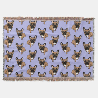 Be nice to the cute black mask fawn Frenchie Throw Blanket