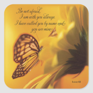 Be Not Afraid Religious Butterfly on Daisy Square Sticker