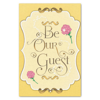 Be Our Guest Pink Roses Yellow Gold Princess Tissue Paper