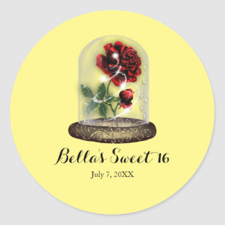 Be Our Guest Red Rose in Glass Elegant Classic Round Sticker