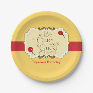 Be Our Guest Yellow & Red Rose Princess Party Paper Plate